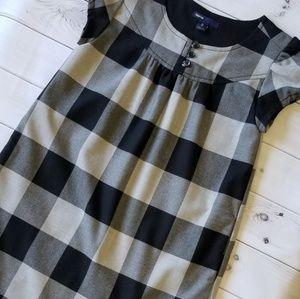 Gap Black Gray Plaid Checkered Holiday Dress 8